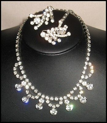 Stunning Vintage Choker & Earring Set Clear & Smoke Crystals Free Shipping