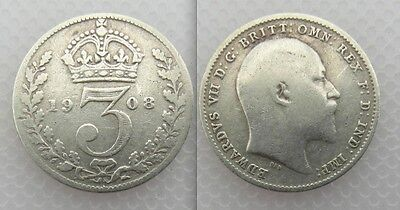 Collectable 1908 King Edward VII Silver Threepence Lot 1