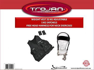Weight Vest 20 Kg Buckle 20 x 1 Kg Satchels FREE Head Harness Neck Trainer