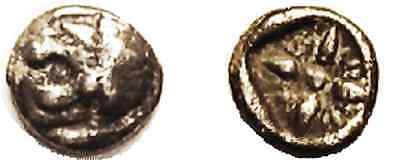 Ancient Greece MILETOS,1/12 Stater,6th cent BC,Lion head l./star pattrn in squar