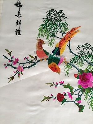 Beautiful hand made chinese embroidery on silk--birds And Flower