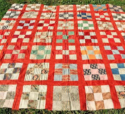 1900s BRIGHT CHEERFUL NINE PATCH BLOCK ANTIQUE VINTAGE QUILT TOP – CRISP AS NEW.