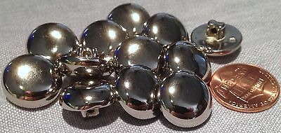"""12 Shiny Domed Silver Tone Plastic Shank Buttons Almost 5/8"""" 15.5mm # 7612"""
