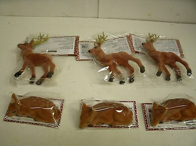 6 Flocked Brown Deer ~ antlers and lying down ~ Christmas Craft decor 2.5-5""