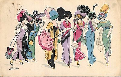 POSTCARD   GLAMOUR  FRENCH  Group of  Ladies      XAVIER  SAGER