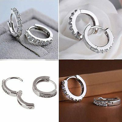 1 Pair Noble White Gold Polishes Diamond Single Row Hinged Hoop Earrings Gift