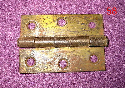 Old Antique Vintage 1 Single Butt Door Hinge Steel Brass Plated #58