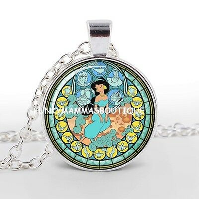 Aladdin Jasmine Kingdom Of Hearts Glass Pendant Necklace Silver In Gift Bag