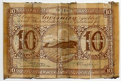 Greenland 10 Kroner 1926-45 (P-16d) Short Snorter w/Notable Signature