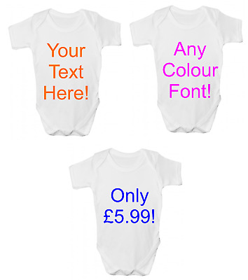 New Funny Personalised Baby Gift ANY TEXT HERE Baby Grow Bodysuit Vest