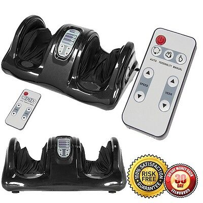 New Foot Massager Kneading and Rolling Leg Calf Ankle with Remote Black