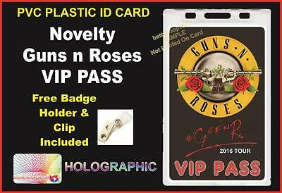 """GUNS N ROSES """"Novelty"""" VIP PASS - Not In This Lifetime Tour 2016 - BACKSTAGE VIP"""