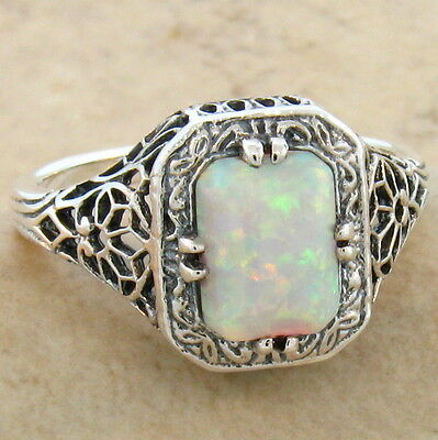 White Lab Opal Antique Art Deco Design 925 Sterling Silver Ring Size 5.75,  #697