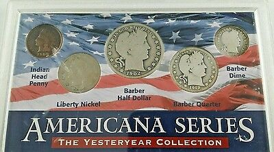 "U.S. AMERICANA SERIES ""YESTERYEAR COLLECTION"" COIN SET IN DELUXE HOLDER 5 Coins!"