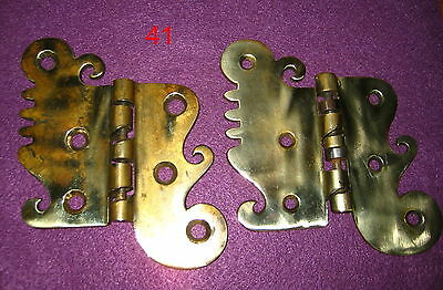 Old Antique Victorian Vintage 1 Pair Solid Cast Rare Brass Door Hinges Part # 41