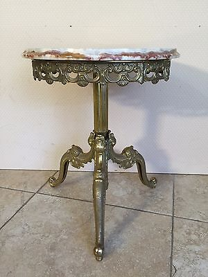 "Vintage Victorian Marble Top Brass Plant Stand, 15"" D x 18"" T, 21.7 Lbs Weight"