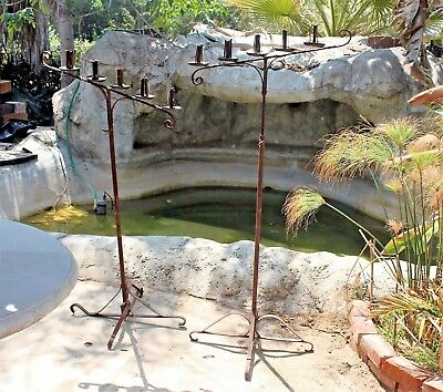 Pair Vintage Wrought Iron Floor Candelabra Candle Stand Holders Wedding Gothic