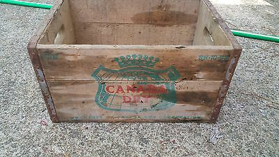 VINTAGE CANADA DRY Ginger Ale Metal Edged WOOD Soda Bottle Box Crate SW-10-63