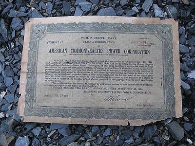 American Commonwealths Power Corporation   JULY 25 1931 stock certificate share