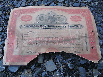 American Commonwealths Power Corporation   1930 1931 stock certificate share