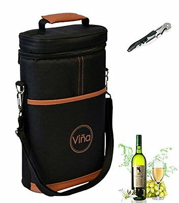 Vina® Wine Travel Carrier & Cooler Bag 2-bottle Wine Champagne Carrying Tote