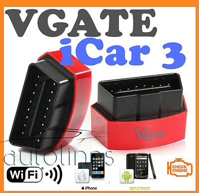 Genuine VGATE ICAR3 WIFI OBD2 OBD ELM327 CAR DIAGNOSTIC SCAN TOOL iPHONE ANDROID