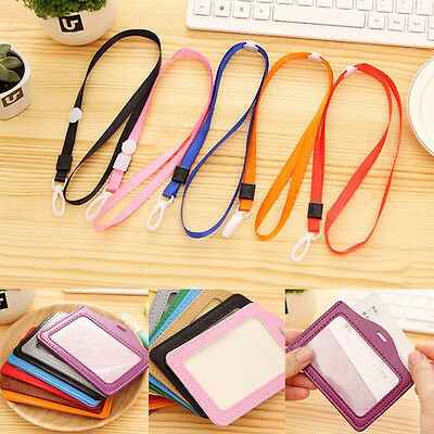 Multi Color Durable ID Student Card Badge Holder Leather Case With Long Lanyard