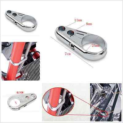 """25 mm 1"""" Chrome Motorcycle Brake Line Clutch Cable Handlebar Frame Clamp Clips"""