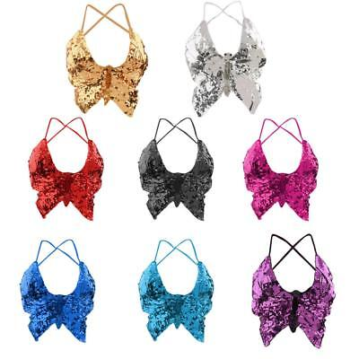 Phenovo Belly Dance Butterfly Top Bra Sexy Dancing Costume Bling Multi Colors