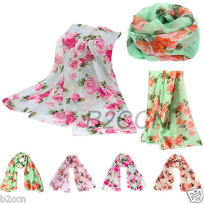 Infinity Women Scarf Rose Floral Long Neck Scarf Stole Scarves Cowl Shawl Scarf