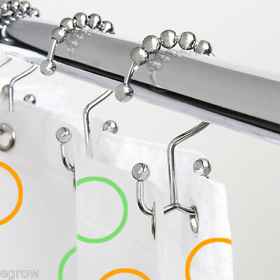 12x Chrome Polished Double Glide Shower Curtain Rings Hooks Stainless Steel