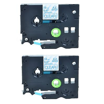 """2PK TZe133 TZ133 Blue on Clear Label Tape for Brother P-touch PT-1180 1/2"""" 12mm"""