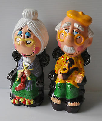 GRAND-PARENTS on Rocking Chair OLD Man & Woman Plastic BANK 1980s Canada