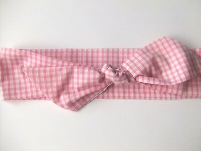 Pink Check Head Wrap,Pink Gingham Headwrap,point Top knot,Scarf scarf