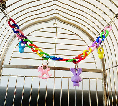 Colorful Parrot  Chew Bell Toys Swing Cockatiel Parakeet Bites Birds Toy uk
