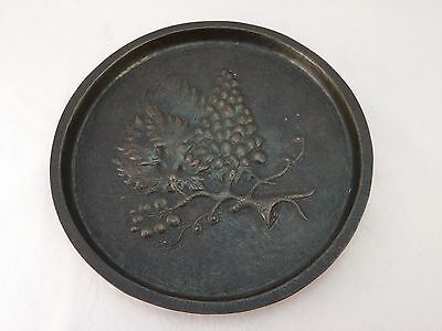 "Vintage Antique Copper Embossed Wall Plate or Plaque Decorative grapes 8 1/2""dia"