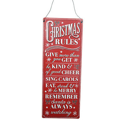 Vintage Christmas Rules Metal Plaque – Hanging Sign Red Novelty Decoration 39cm