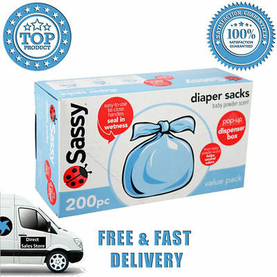 Sassy Baby Disposable Diaper Sacks 200 Count Powder Tie Close Handles Wetness