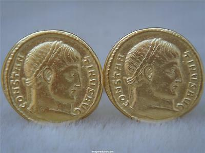 Ancient Roman Coin Cufflinks Greek  W/ Jewelry Box Sm