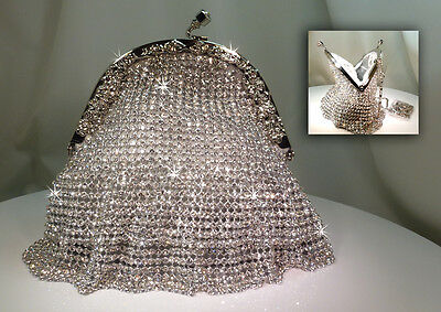 Crystal Bridal / Evening Bag with Crystal Skirt - Clear Crystal - 00023