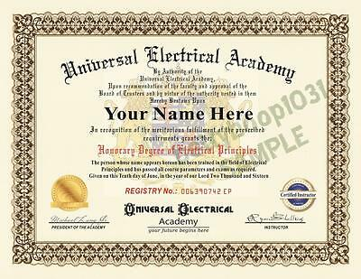Diploma ELECTRICAL ACADEMY Prop Certificate - NOVELTY ELECTRICIAN SCHOOL - USA