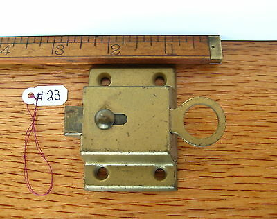 Old Antique Vintage Cuboard Cabinet Latch Steel Painted Brass Lock Part # 23