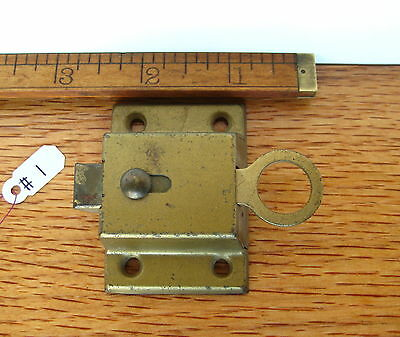 Old Antique Vintage Cuboard Cabinet Latch Steel Painted Brass Lock Part # 1