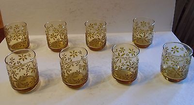 8 Vtg Retro Kitchen Textured Daisy Amber Juice Glass Tumbler Libbey Gold Bouquet