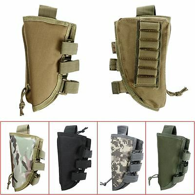 Military Tactical Buttstock Rifle Shell Holder Cheek Rest Stock Pouch Mag Bag