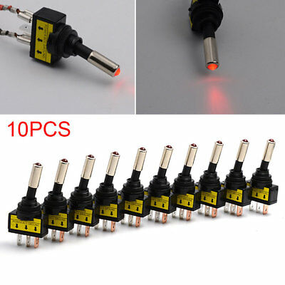 10PCS 12V 20A Car Auto Red LED Light  Push Button Toggle Rocker Switch Panel