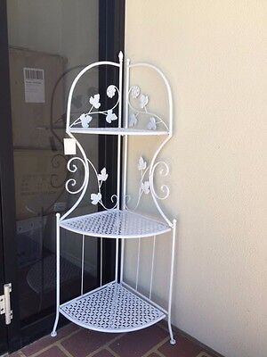 White Metal Pot Plant Stand Sector Shape 109cm