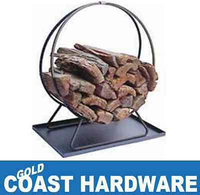Log Holder - Ring - With Tray for Fireplace Wood Heater