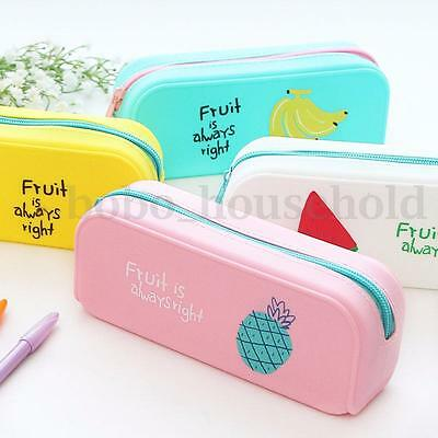 Silicone Pencil Pen Case Stationery Make Up Cosmetic Brush Bag Storage Pouch Box