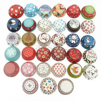 25/100pcs Xmas Colorful Paper Cake Cupcake Liner Case Wrapper Muffin Baking Cup